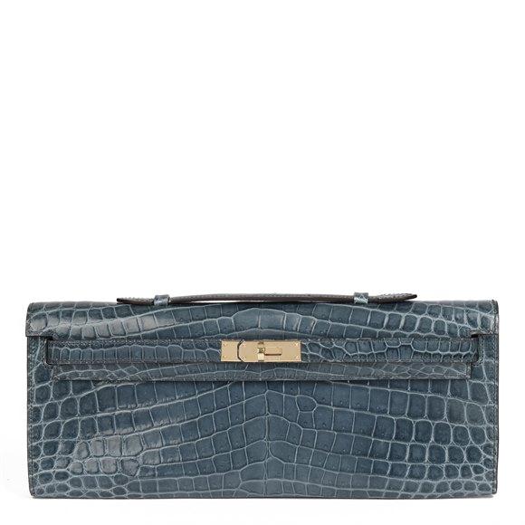 Hermès Blue Tempete Shiny Niloticus Crocodile Leather Kelly Cut