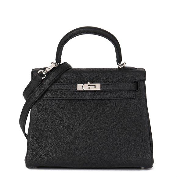 Hermès Black Togo Leather Kelly 25cm Retourne