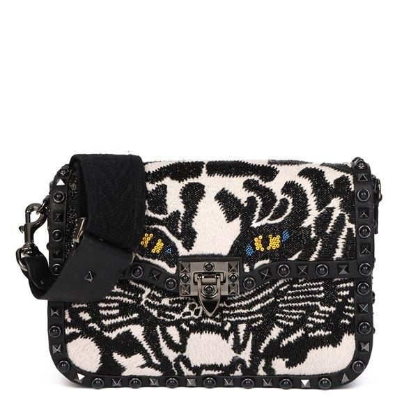Valentino Black Calfskin & Embellishment Tiger Rockstud Rolling Bag