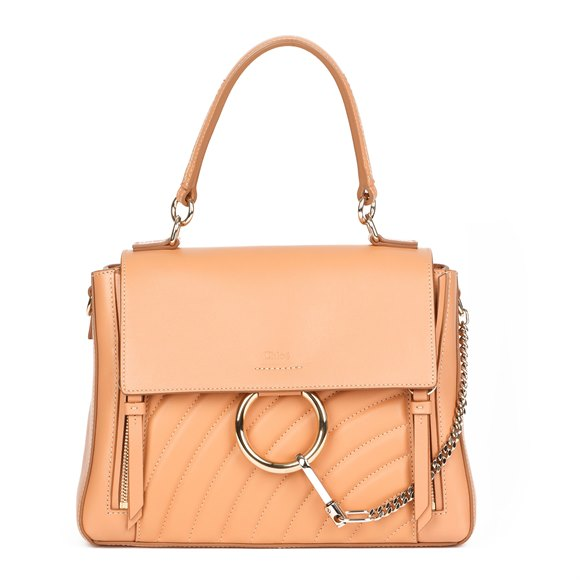 Chloé Peach Quilted Calfskin Leather & Suede Small Faye Day Bag