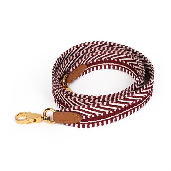 Hermès Rouge Grenat & White Canvas, Gold Swift Leather Sangle Cavale 25mm Strap