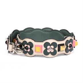 Fendi White & Green Calfskin Leather Multicolour Floral Appliqued Strap You 50mm Strap