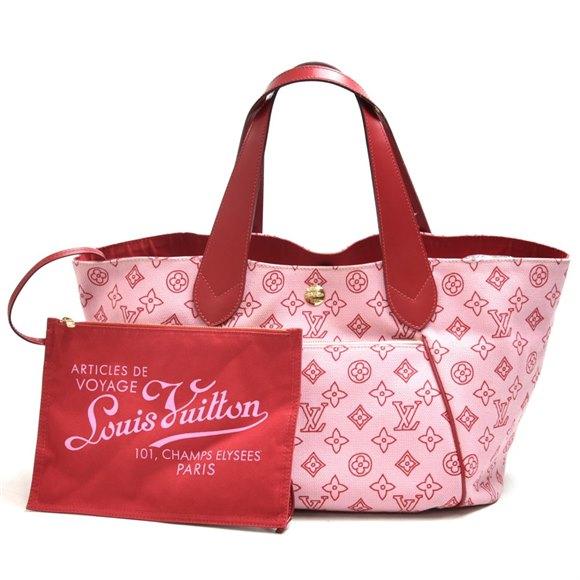 Louis Vuitton Rose Red Monogram Canvas Cabas Ipanema PM Beach Bag