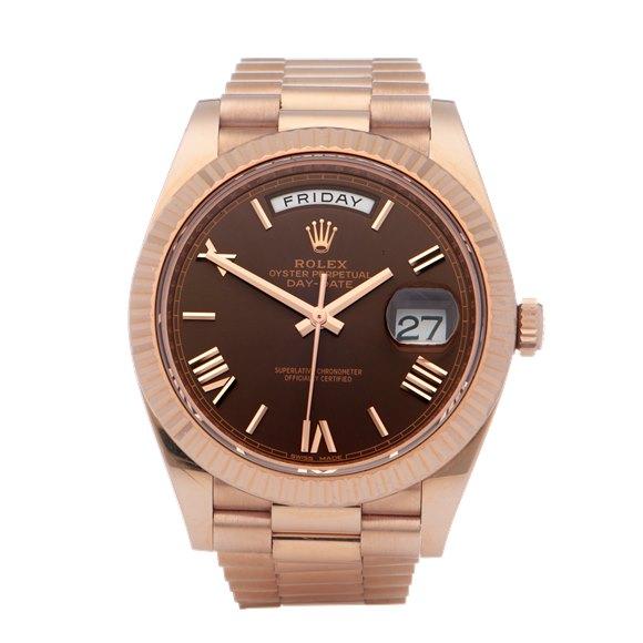 Rolex Day-Date Chocolate 18K Rose Gold - 228235