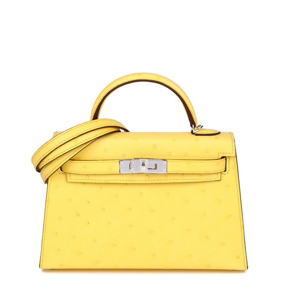 Hermès Jaune Citron Ostrich Leather Kelly 20cm II Sellier