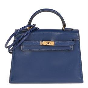 Hermès Blue Saphir Box Calf Leather Vintage Kelly 15cm Sellier