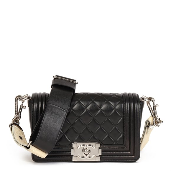 Chanel Black Quilted Lambskin & Beige Galuchat Small Le Boy