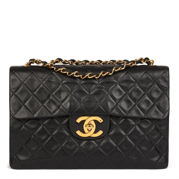 Chanel Black Quilted Lambskin Vintage Maxi Jumbo XL Classic Single Flap Bag