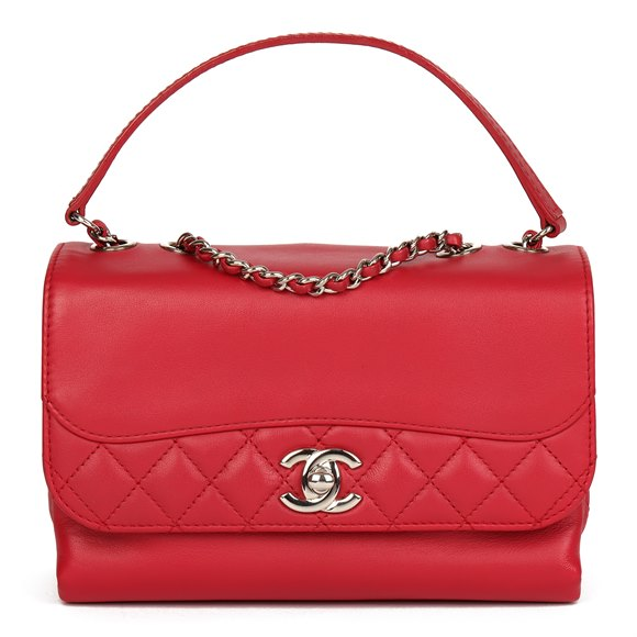 Chanel Red Reverso Quilted Lambskin Classic Single Flap Bag