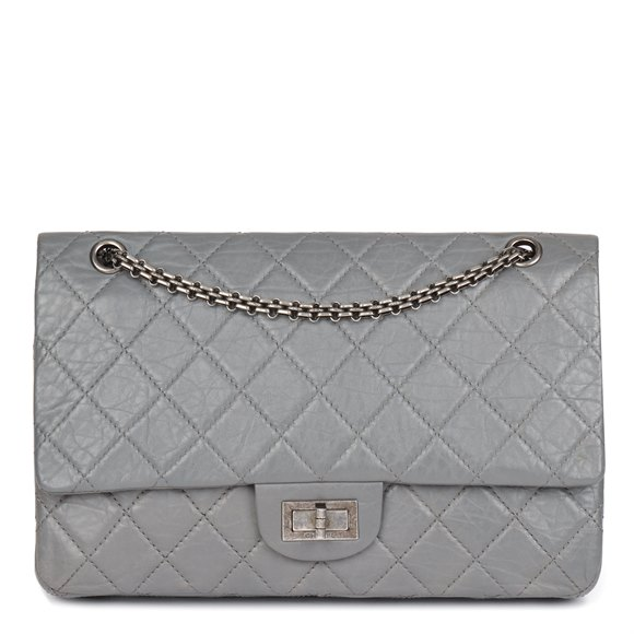 Chanel Grey Aged Quilted Calfskin Leather 227 2.55 Reissue Flap Bag