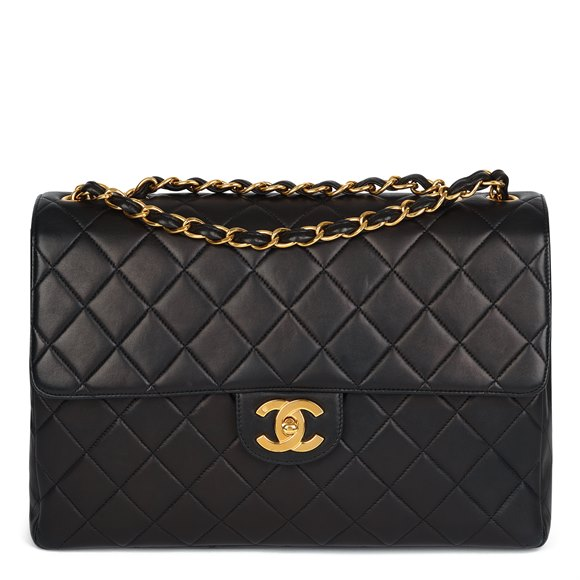 Chanel Black Quilted Lambskin Vintage Jumbo XL Classic Single Flap Bag