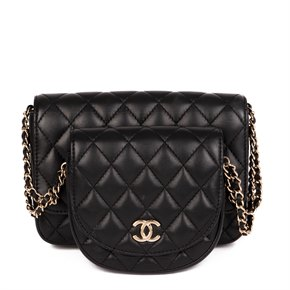 Chanel Black Quilted Lambskin Classic Twin Flap Bag Side Pack