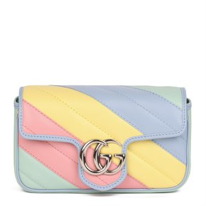 Gucci Green, Yellow, Pink & Blue Quilted Calfskin Leather Multicolour Mini Marmont