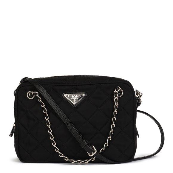 Prada Black Quilted Nylon & Saffiano Leather Crossbody Tote Bag