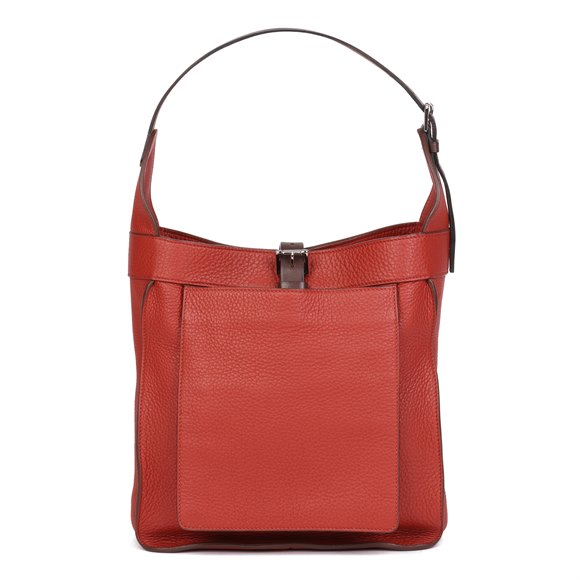 Hermès Venetian Red Clemence Leather & Ebene Vache Hunter Leather