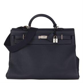 Hermès Bleu Nuit Togo Leather Kelly 50cm Voyage