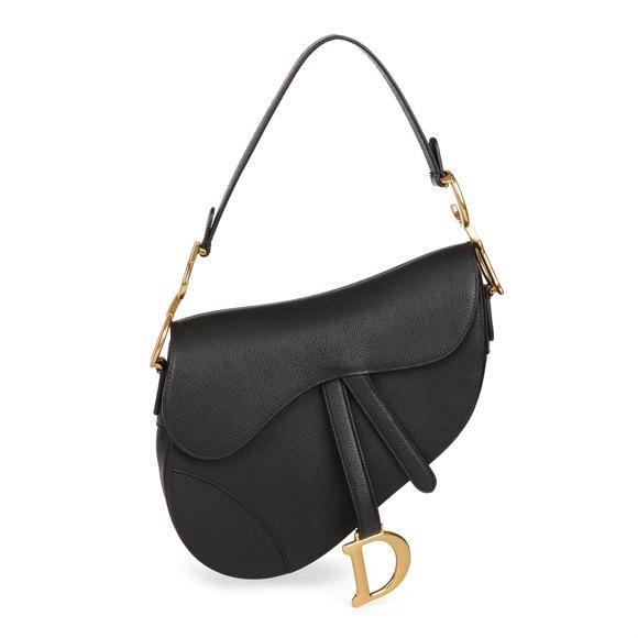 Christian Dior Black Grained Calfskin Leather Saddle Bag