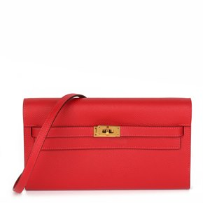 Hermès Rouge Casaque Epsom Leather Kelly To Go Long Wallet