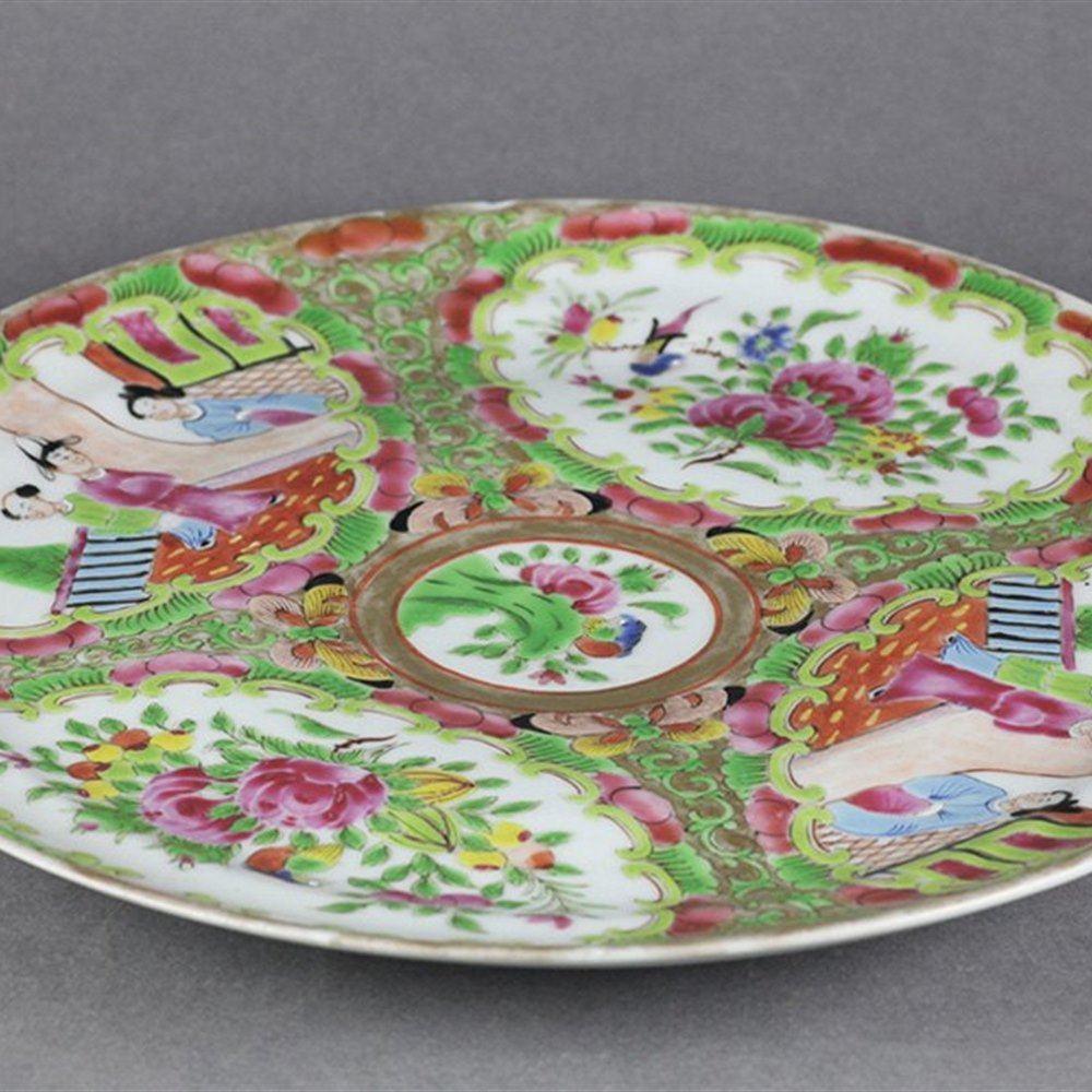 Superb Antique Chinese Rose Medallion Porcelain Plate Qianlong Seal Mark
