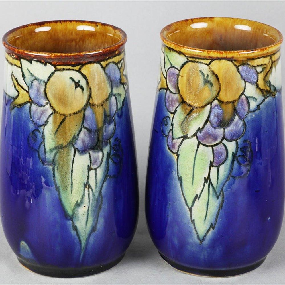 Pair Doulton Lambeth Vases Circa 1920