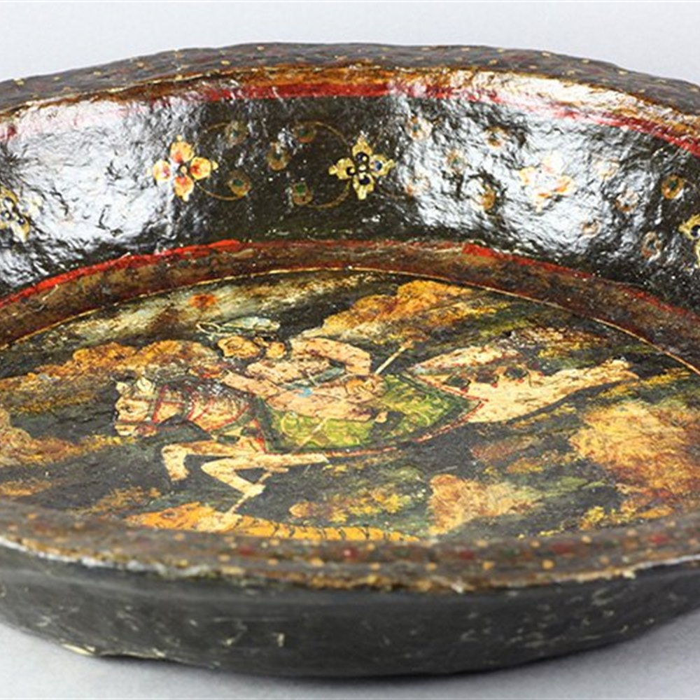 Antique Indian Paperimache Bowl Painted With Hunting Scene 19th C.