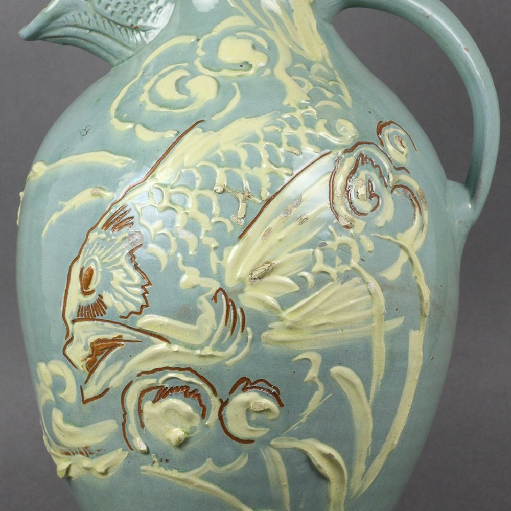 Large Charles Brannam Art Pottery Fish Spout Jug By James Dewdney 1896