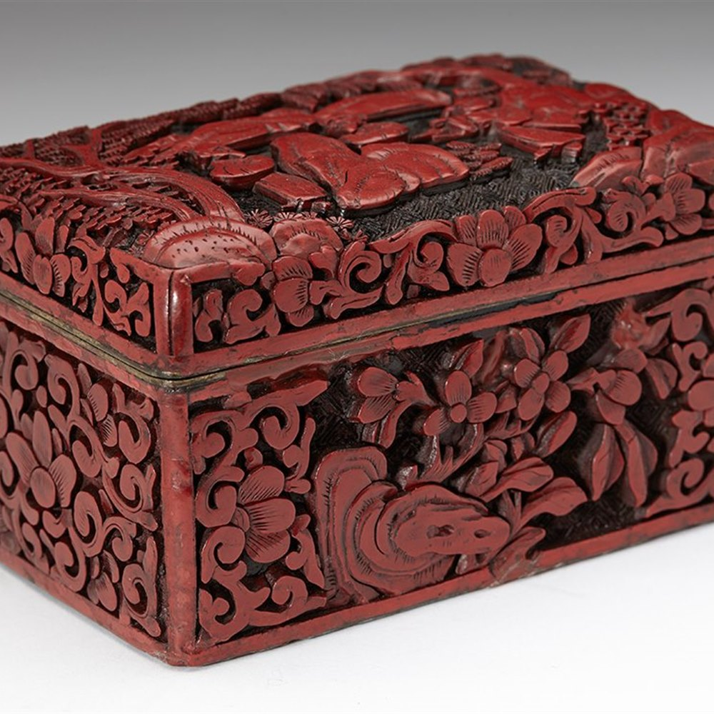CHINESE RED LACQUER BOX 19th Century