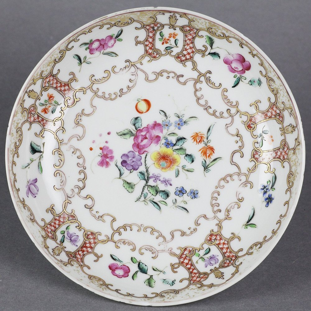 Exceptionally Painted Antique Chinese Teabowl & Saucer With Floral Designs 18th C.