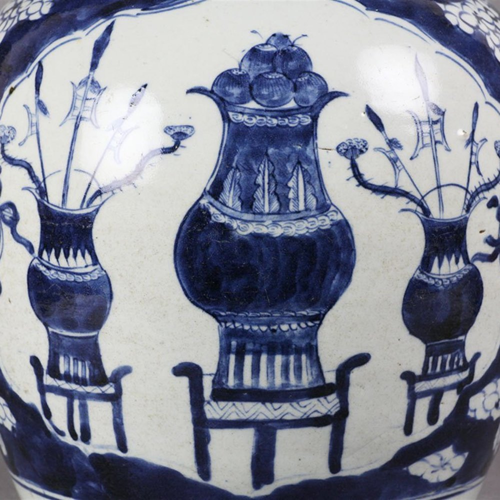 Unusual Large Antique Chinese Ginger Jar Decorated With Tree Rats 18/19th C.