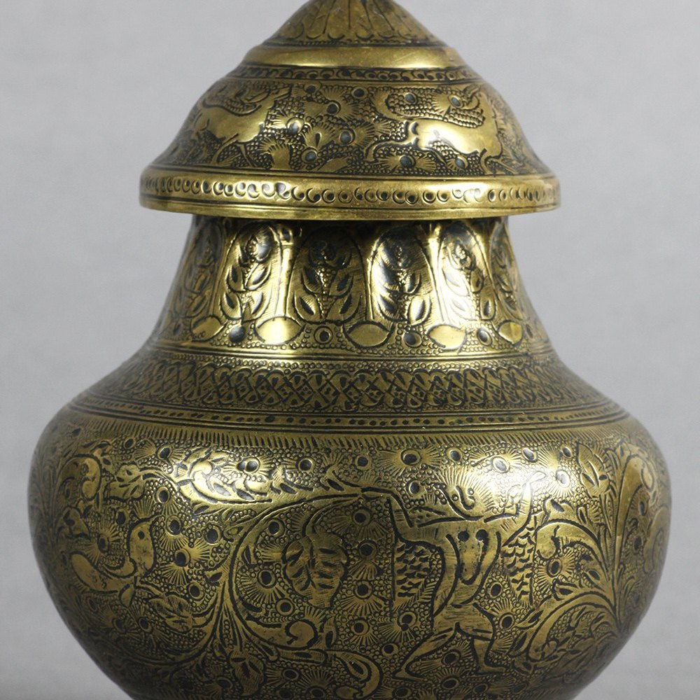 PAIR INDIAN BRONZE JARS 19th Century