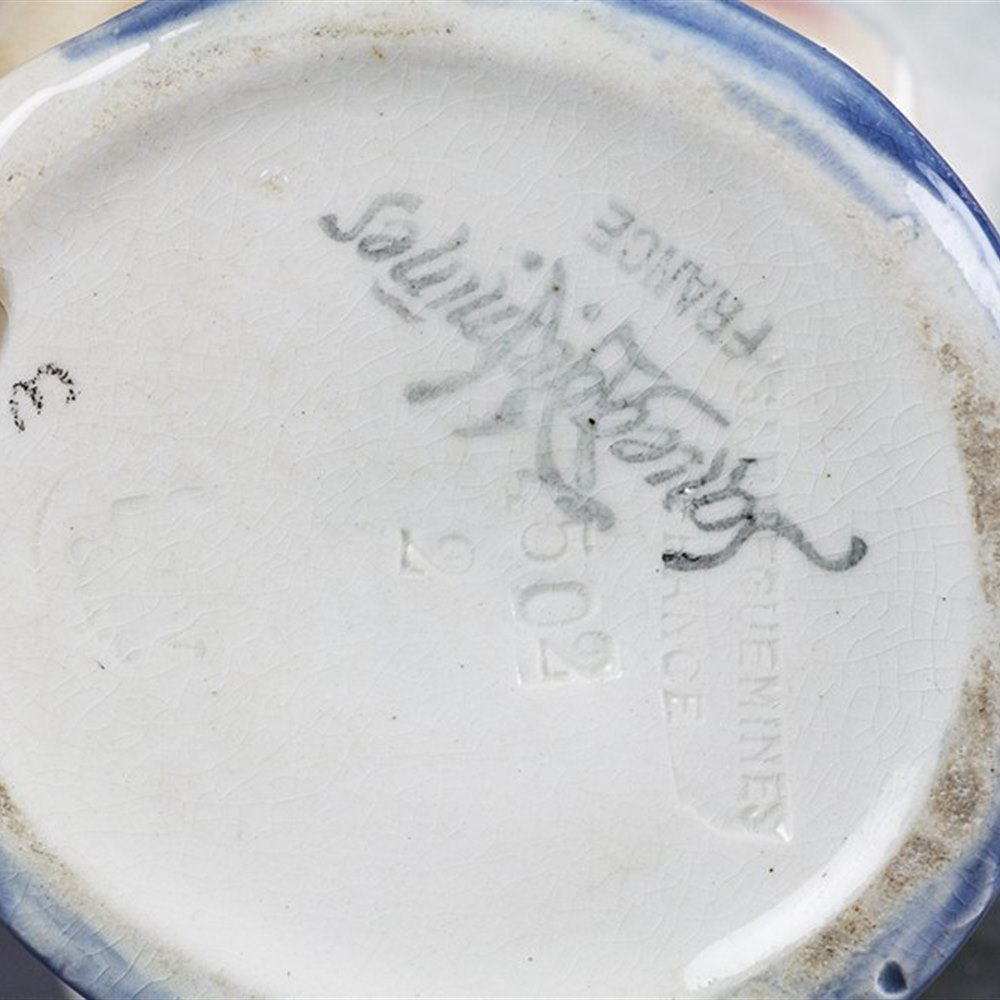 Superb Antique Sarreguemines Majolica Judge Character Jug Early 20th C.