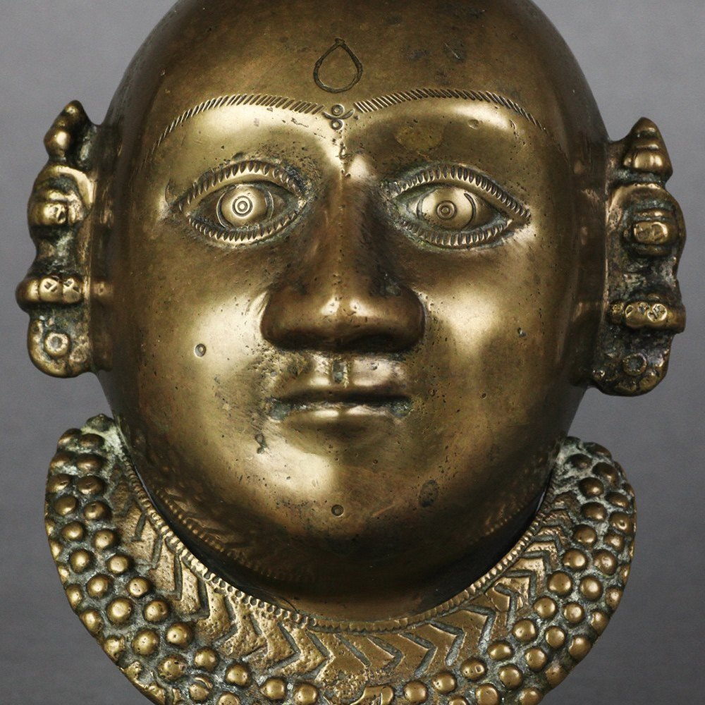 INDIAN BRONZE DEITY HEAD Circa 1900