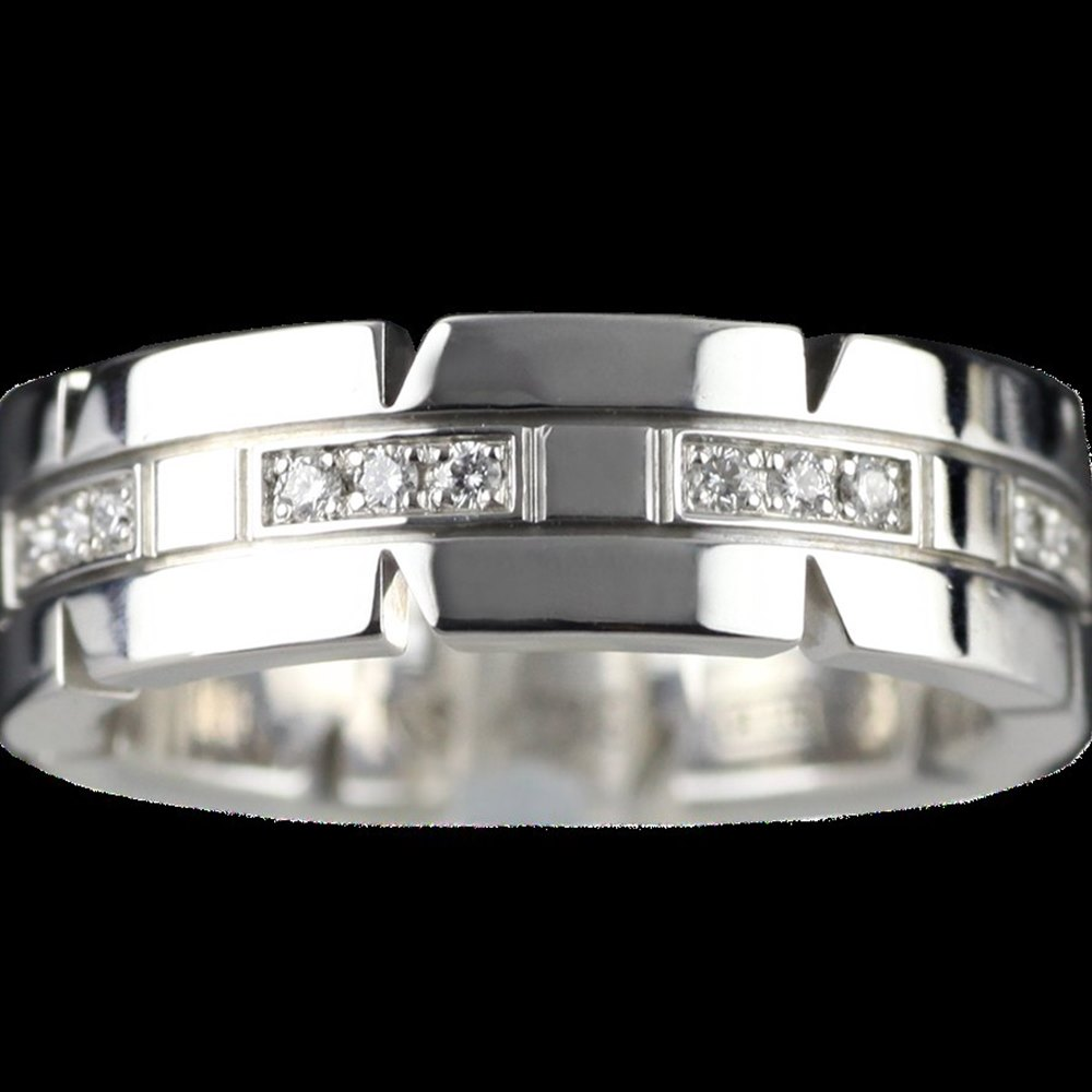 Cartier White Gold & Diamond Tank Française Wedding Band