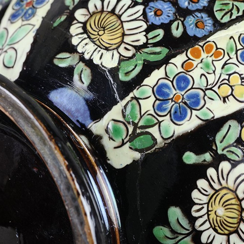 From A Private Collection … Large Antique Thoune Majolika Floral Painted Jug 19th C.