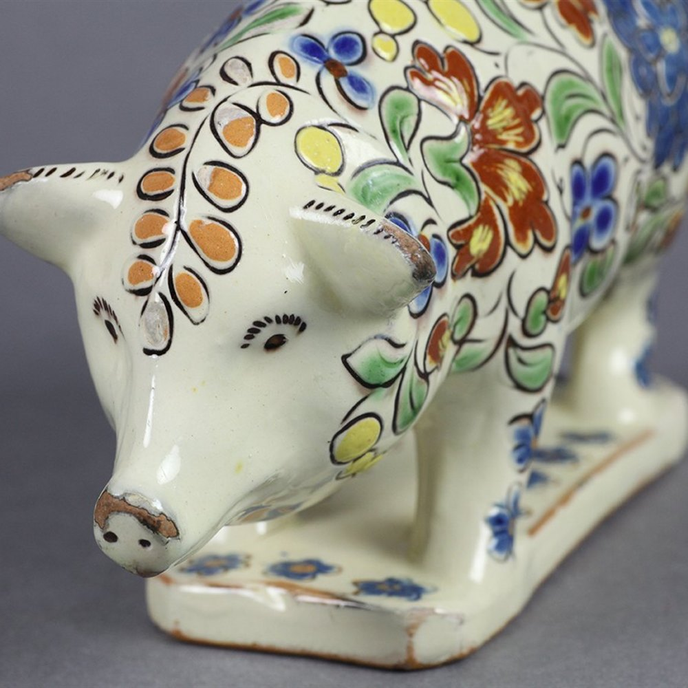 From A Private Collection … Thoune Majolika Pottery Pig Moneybox 19th C.