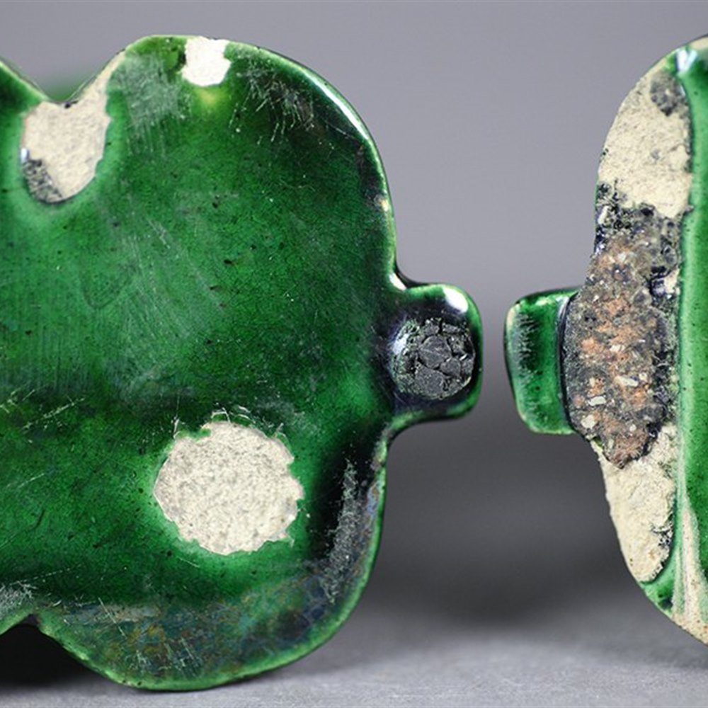 Antique Pair Chinese Green Glazed Dogs Of Foo 19th C. Or Earlier
