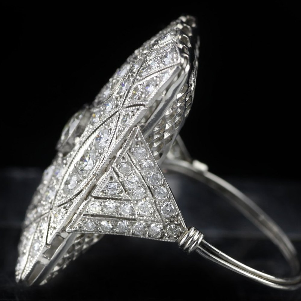 Platinum Art Deco Platinum 2.3cts Diamond Cocktail Ring