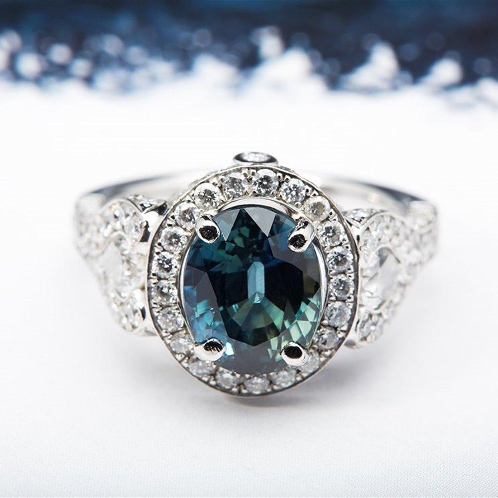 Platinum Platinum 5.75cts Natural Royal Blue Sapphire & Diamond Ring