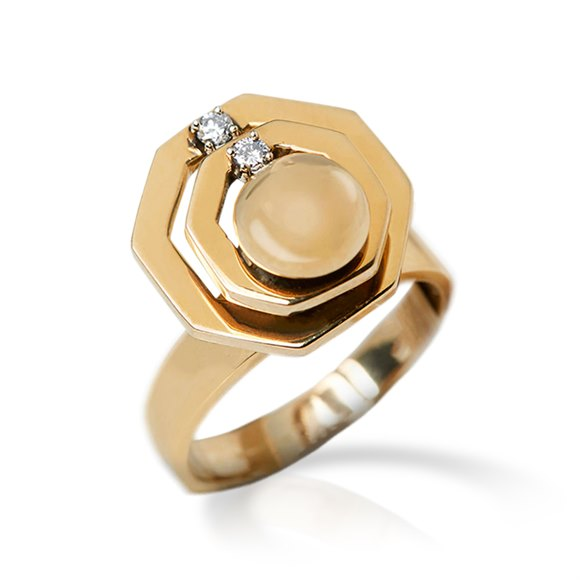 14k Yellow Gold Diamond Swivel Ring