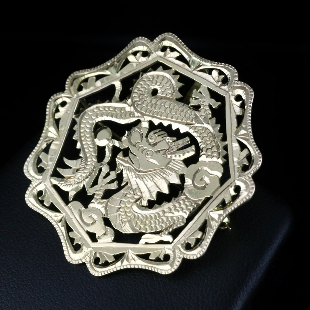 Yellow Gold Chinese Dragon Style Brooch 1980's