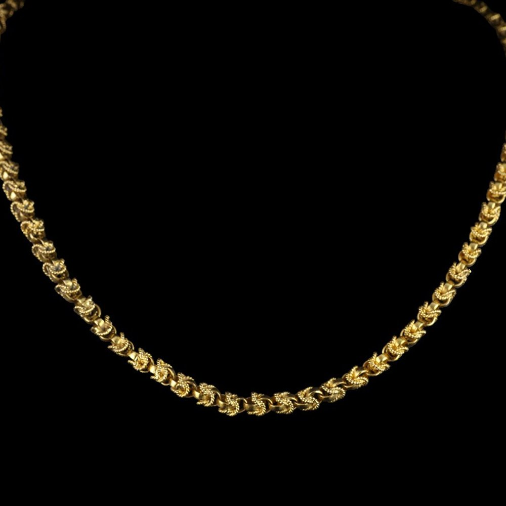 18k Yellow Gold Belcher-Link with Twisted Rope Design Necklace