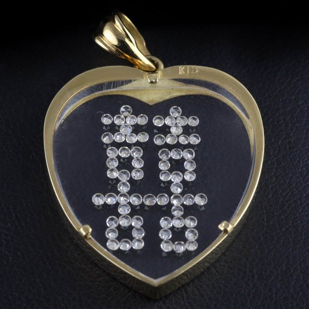 18k Yellow Gold  18k Yellow Gold Chinese Diamond Double Love Emblem Heart Pendant