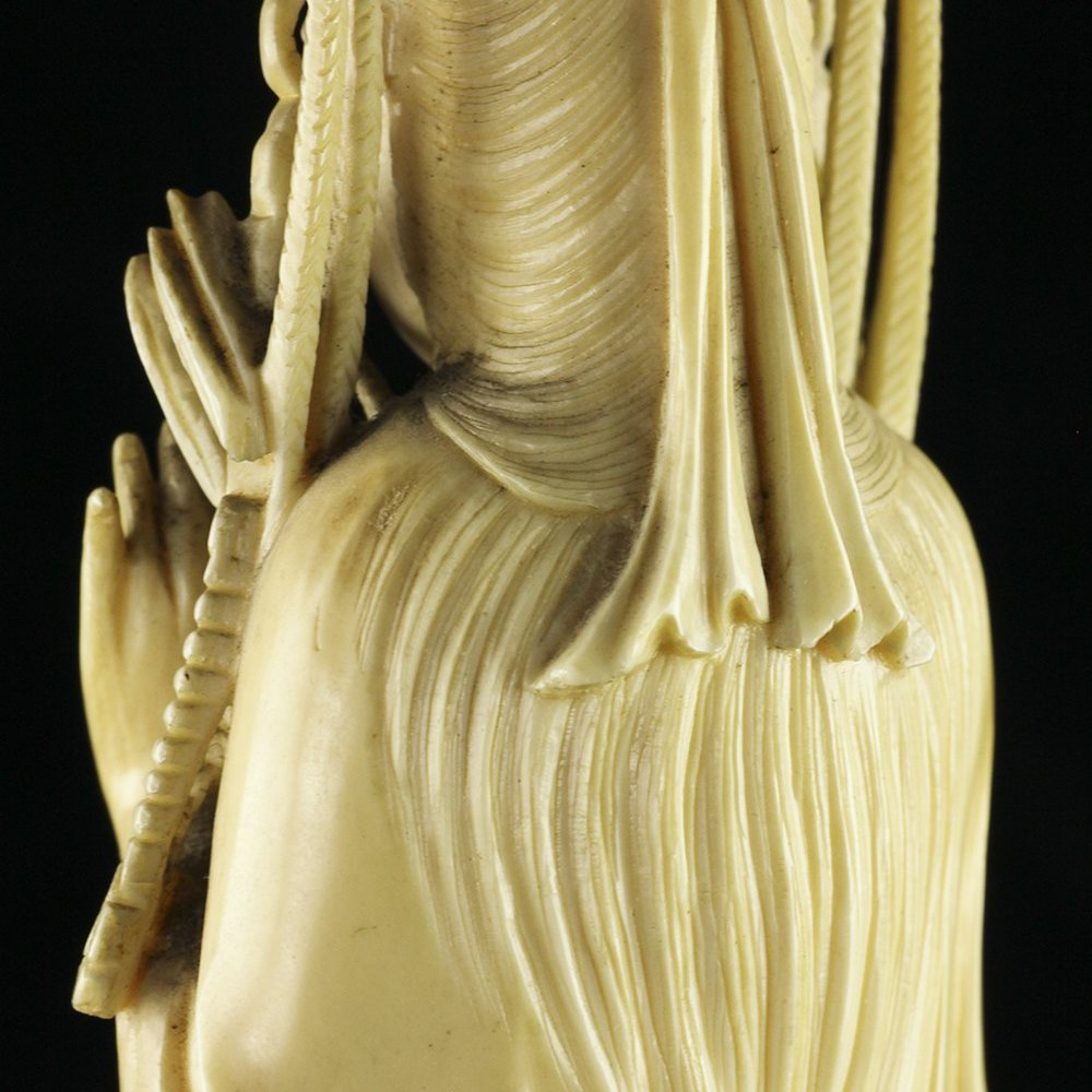 Exceptional Carved Antique Chinese Ivory Figure Of Guanyin 19th C.
