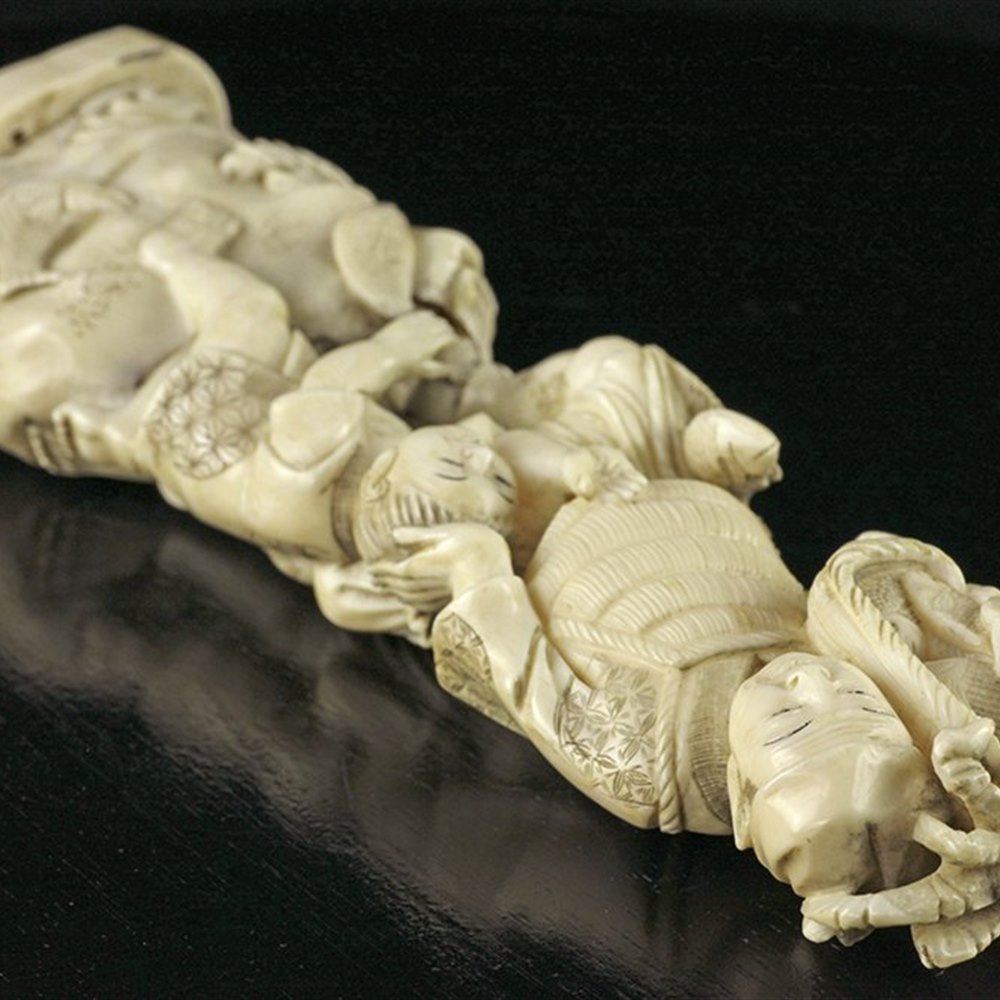 Finely Carved Antique Japanese Meiji Ivory Figure Of A Fisherman 19th C.
