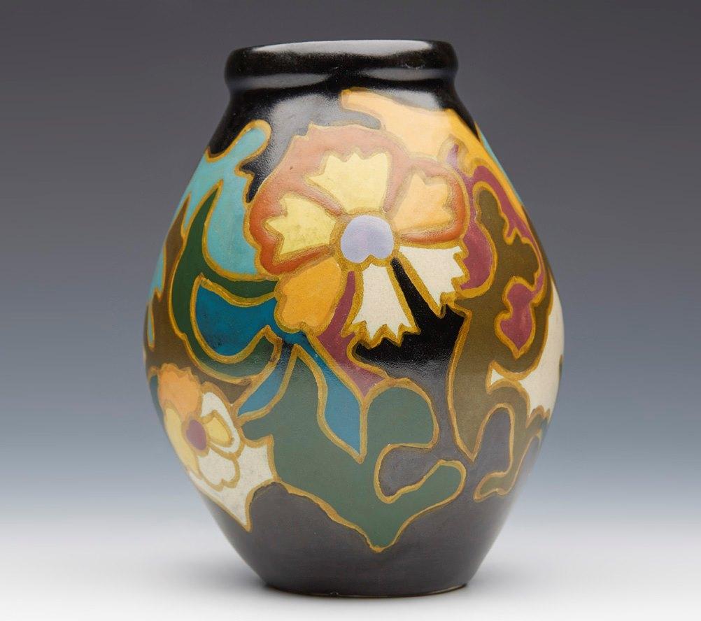Art deco dutch arnhem art pottery mona design vase 1920s