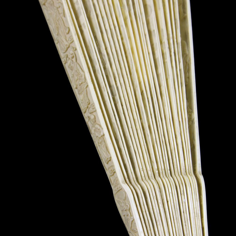 CANTON IVORY CARVED FAN Dates from around 1800