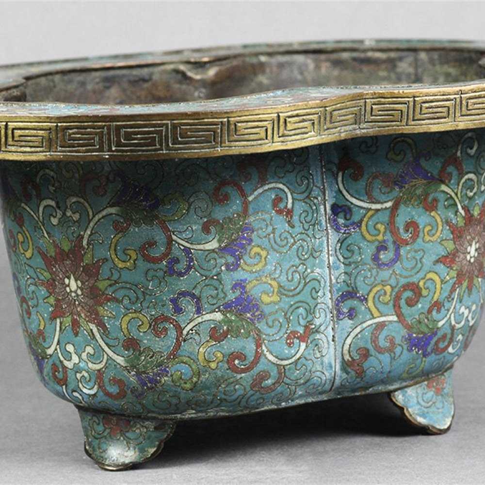 Antique Chinese Cloisonne Turquoise Ground Floral Planter, 18th c.