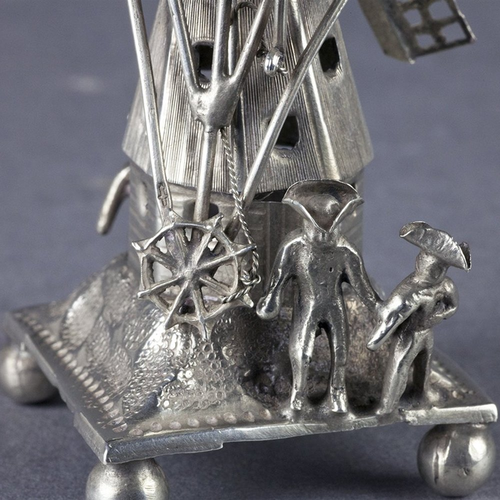 DUTCH MINIATURE SILVER WINDMILL Believed 19th Century