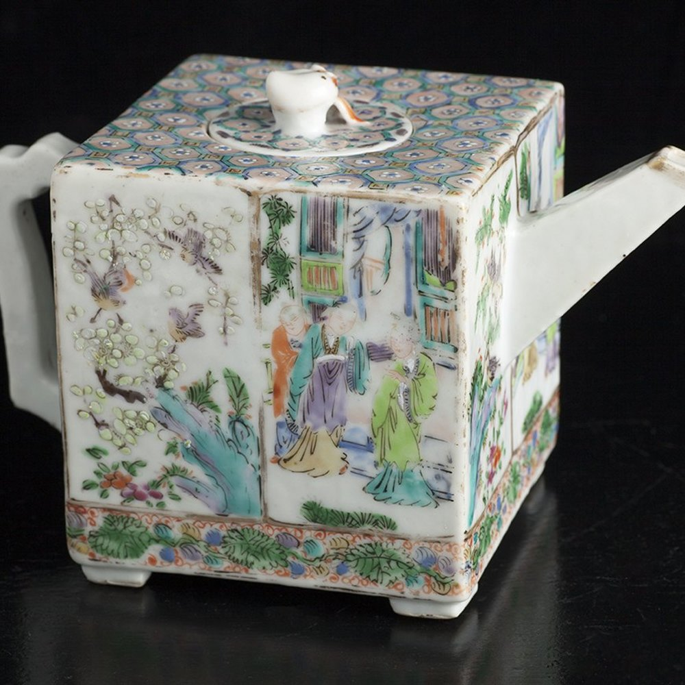 QING POLYCHROME CUBE TEAPOT Qing Dynasty dating from around 1800