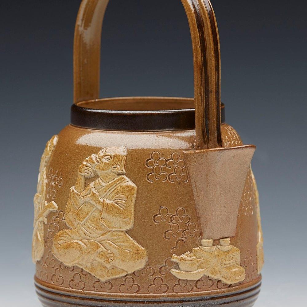 Rare Antique Doulton Lambeth Salt Glazed Japanese Tea Ceremony Cream Jug C.1895